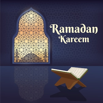Platte ontwerp ramadan kareem illustratie