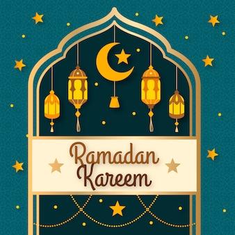 Platte ontwerp ramadan met halve maan