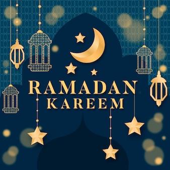 Platte ontwerp ramadan viering concept