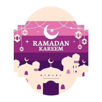 Platte ontwerp ramadan viering ontwerp