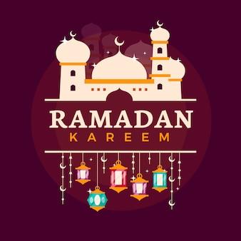 Platte ontwerp ramadan viering thema