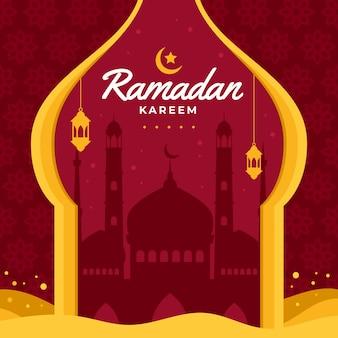 Platte ontwerp ramadan viering