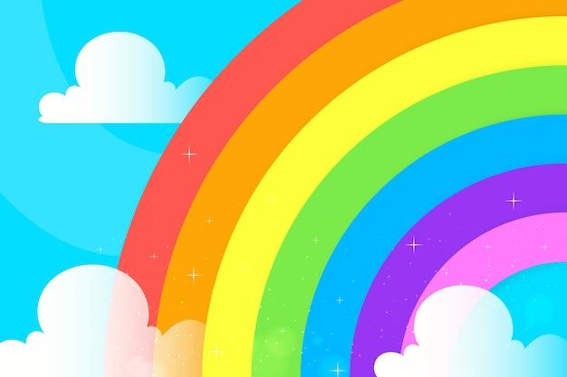 Platte ontwerp regenboog concept
