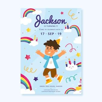 Platte ontwerp regenboog verjaardag uitnodiging sjabloon