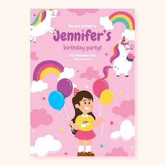 Platte ontwerp regenboog verjaardagsuitnodiging
