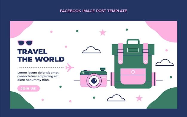 Platte ontwerp reis de wereld rond facebook post