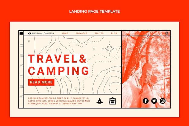 Platte ontwerp reis- en kampeerbestemmingspagina