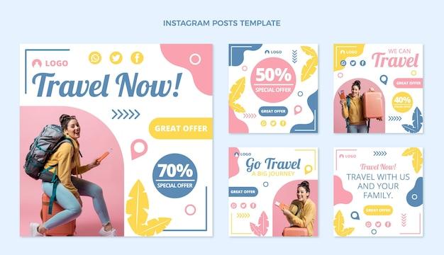 Platte ontwerp reis instagram berichten sjabloon