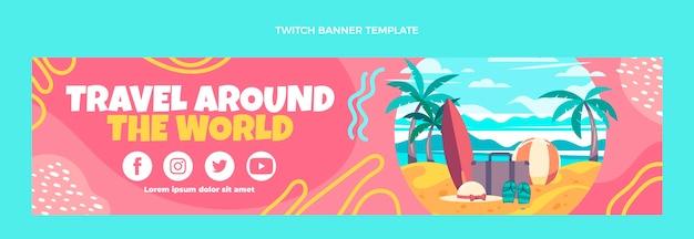 Platte ontwerp reis rond de wereld twitch banner