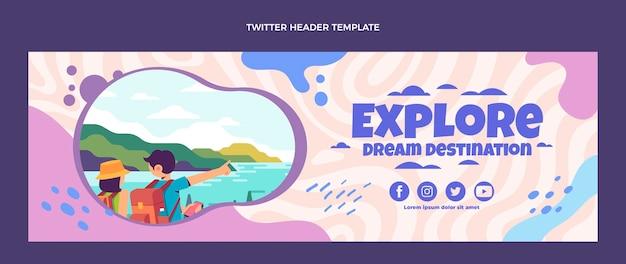 Platte ontwerp reis twitter header sjabloon