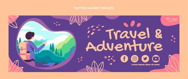 Platte ontwerp reisavontuur twitter header