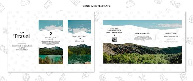 Platte ontwerp reisbrochure sjabloon