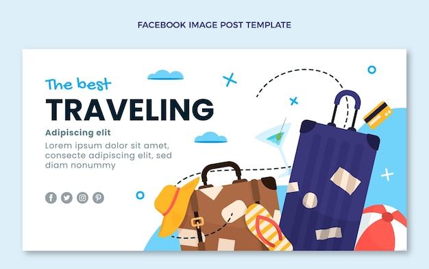 Platte ontwerp reizen facebook post