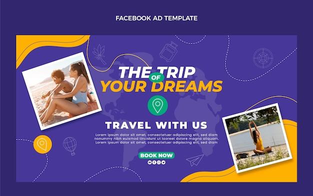Platte ontwerp reizen facebook sjabloon