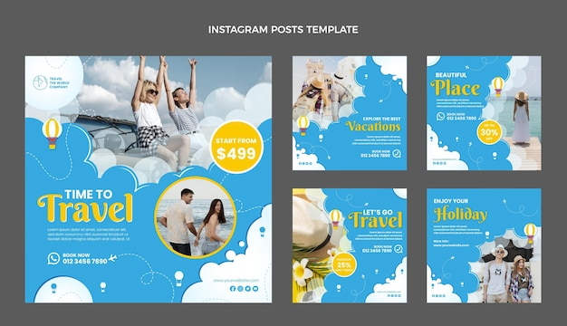 Platte ontwerp reizen instagram-berichten
