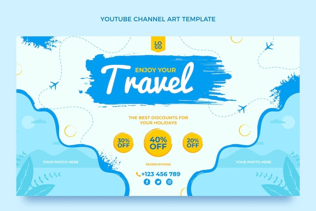 Platte ontwerp reizen youtube channel art