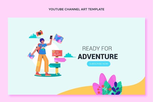 Platte ontwerp reizen youtube kanaalkunst sjabloon