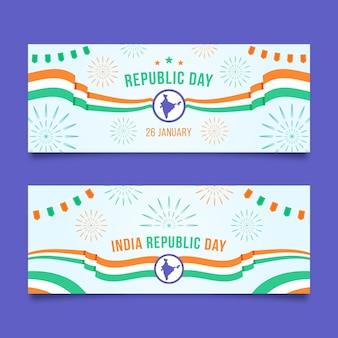 Platte ontwerp republiek dag horizontale banners