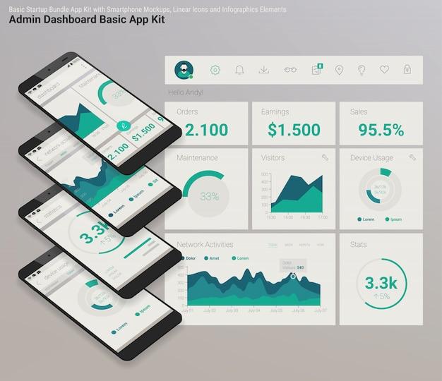 Platte ontwerp responsieve admin dashboard ui mobiele app met 3d-mockups