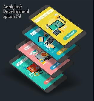 Platte ontwerp responsieve analyse en ontwikkeling ui mobiele app splash screens sjabloon met trendy illustraties en 3d-smartphone-modellen