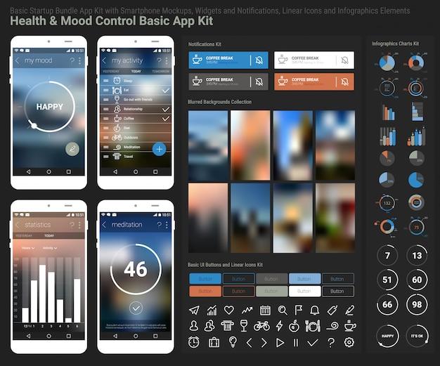 Platte ontwerp responsieve health and mood control ui mobiele app-sjabloon met trendy onscherpe achtergronden, smartphone, notificatons, infographics grafieken kit en lineaire ui iconen collectie