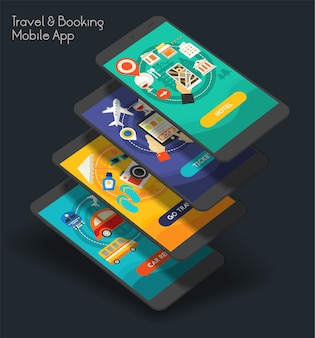Platte ontwerp responsieve reizen en boeken ui mobiele app splash schermen sjabloon met trendy illustraties en 3d-smartphone