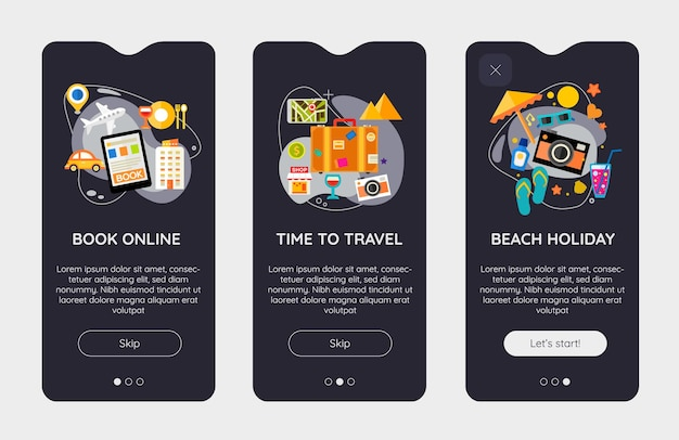 Platte ontwerp responsieve time to travel ui mobiele app splash screens sjabloon met trendy illustraties