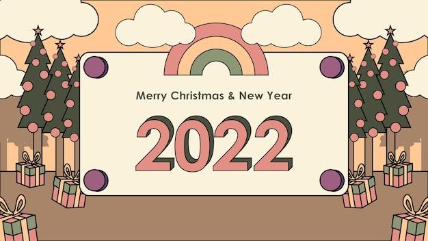 Platte ontwerp retro gelukkig nieuwjaar nostalgische jaren 90 achtergrond