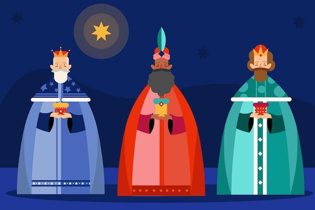 Platte ontwerp reyes magos dag