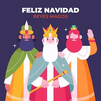 Platte ontwerp reyes magos illustratie