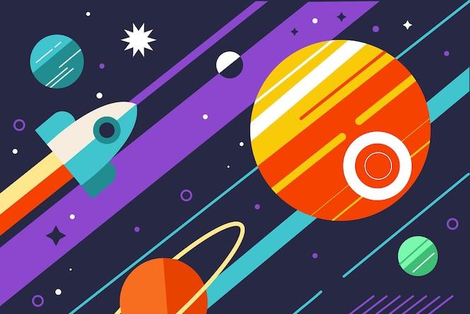 Platte ontwerp ruimteschip en geometrische elementen van planeten