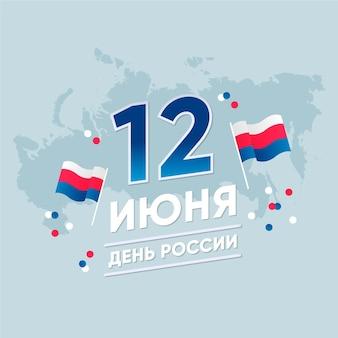 Platte ontwerp rusland dag en kaart