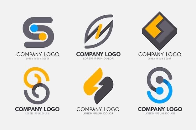 Platte ontwerp s logo sjablooncollectie