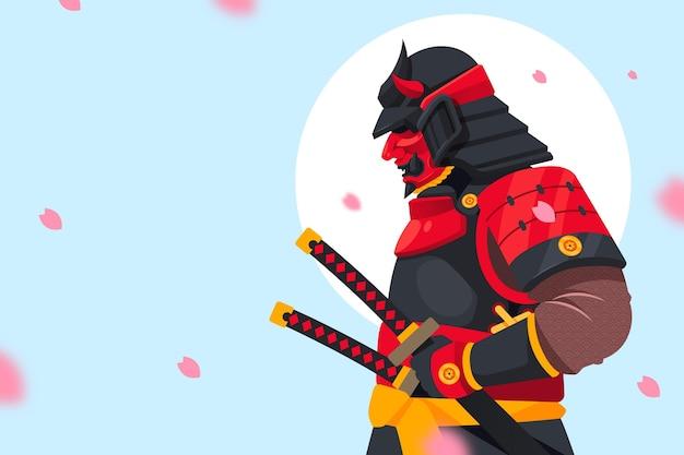 Platte ontwerp samurai achtergrond