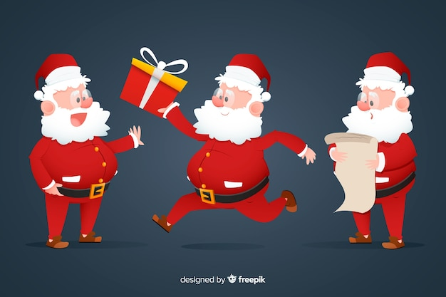 Platte ontwerp santa claus character collection