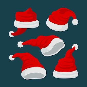 Platte ontwerp santa's hoed illustratie collectie