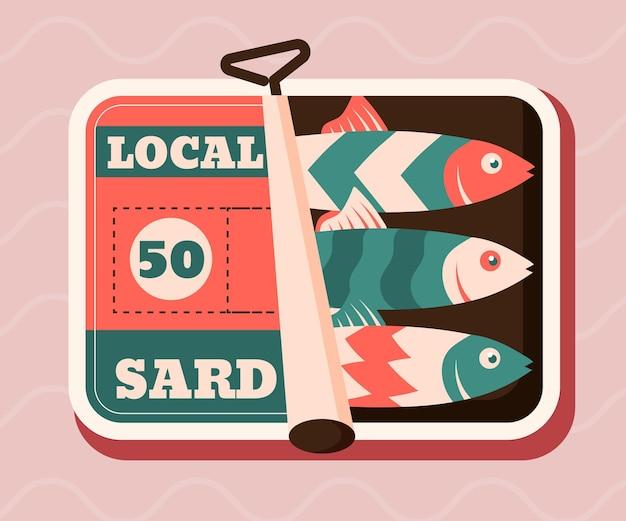 Platte ontwerp sardine illustratie