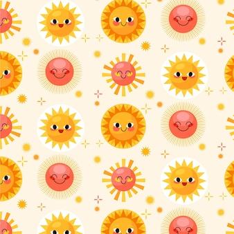 Platte ontwerp schattig zon patroon