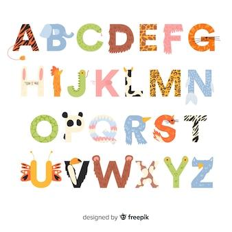 Platte ontwerp schattige dieren alfabet
