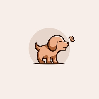 Platte ontwerp schattige hond illustratie