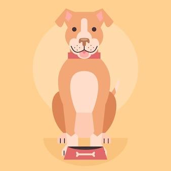 Platte ontwerp schattige pitbull illustratie