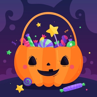 Platte ontwerp schattige pompoen halloween tas