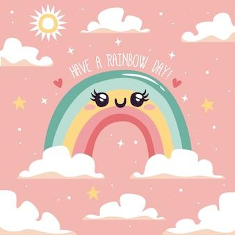 Platte ontwerp schattige regenboog