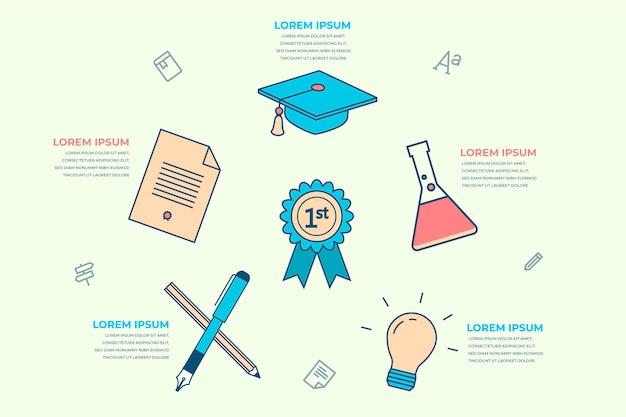 Platte ontwerp school infographics