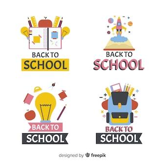 Platte ontwerp school logo collectie