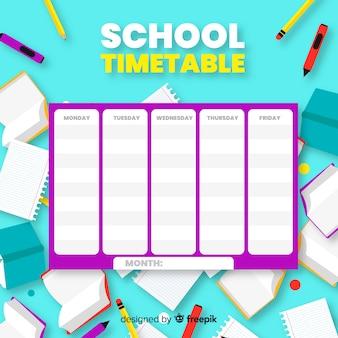 Platte ontwerp school tijdschema sjabloon