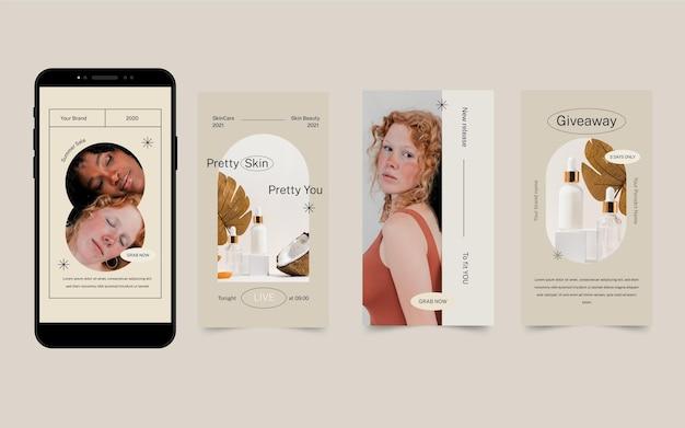 Platte ontwerp schoonheid instagram verhaalcollectie