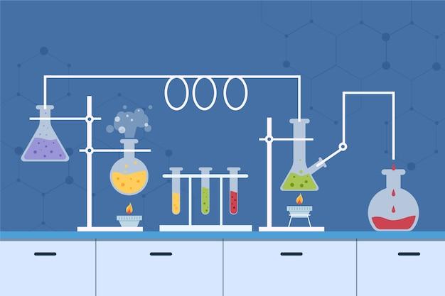 Platte ontwerp science lab-objecten
