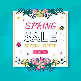 Platte ontwerp seizoensgebonden lente verkoop concept
