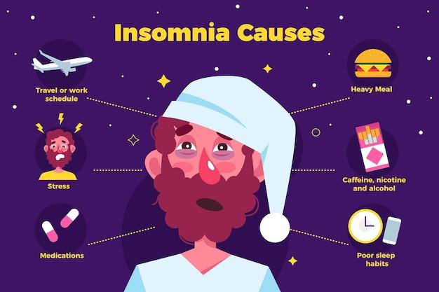 Platte ontwerp slapeloosheid veroorzaakt illustratie bij de mens